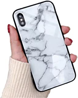 BONTOUJOUR iPhone X/iPhone Xs Case Luxury Marble Patterned Tempered Glass Back Cover with Soft TPU Bumper Frame Shock Absorption 360 Degree Full Body Strong Protection Extreme Slim White