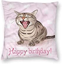 Mannwarehouse Birthday Customized Pillowcase Funny Kitten Greeting Song with Hidden zipperW12 x L12