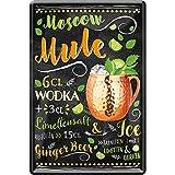 schilderkreis24 – Cartel de chapa con receta de cóctel 'Moscow Mule', decoración para bar, cocina, pub, mostrador, regalo de cumpleaños, Navidad, alcohol, bebidas alcohólicas, bebedores, 20 x 30 cm