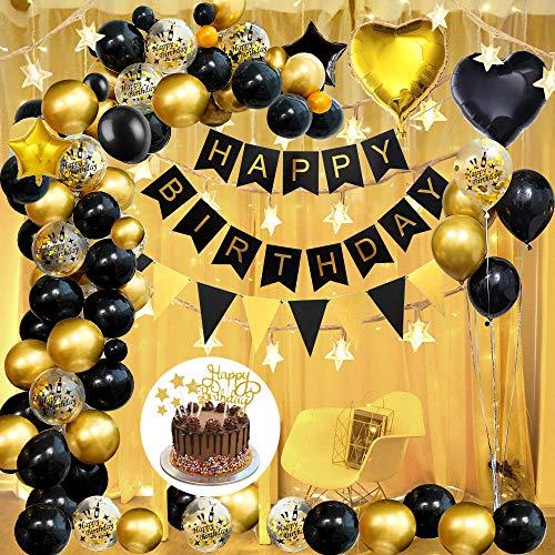 AYUQI Geburtstagsdeko Schwarzgold Happy Birthday Girlande mit Stern Herz Folienballon Partydekoration Metallic Gold, Schwarz Latex Ballon, Gold Konfetti Ballon Geburtstag Deko zum Mädchen