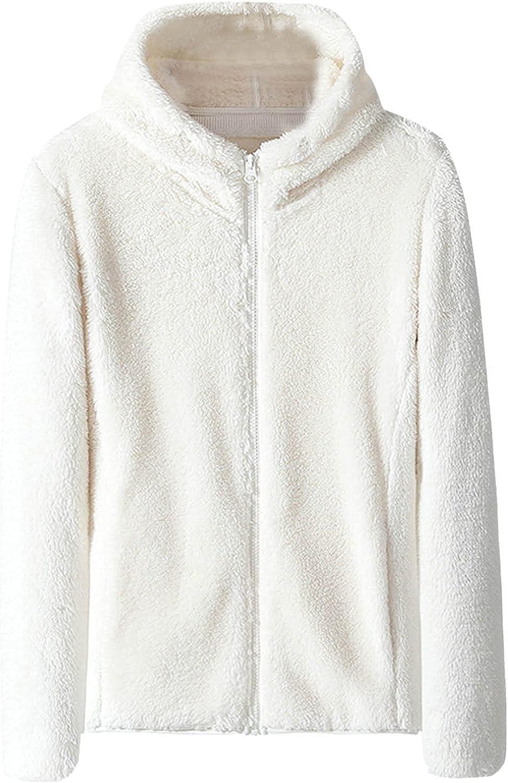 Winter Coats For Women Fashion Long Sleeve Lapel Zip Up Faux Shearling Hoodie Shaggy Oversized Coat Jacket For Winter