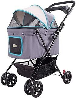 Pet stroller Lightweight Pet Stroller,Four-Wheeled Pet Stroller, Pet Stroller, Collapsible Pet Stroller, Small Pet Stroller, Dog Cart, Pet Supplies (Color : Gray)