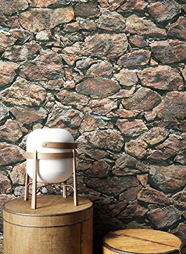 NEWROOM Steintapete Tapete Beige Mauer Stein Modern Vliestapete Braun Vlies moderne Design 3D Optik Steintapete Ziegelstein Backstein Mauerwerk Klinker Loft inkl. Tapezier Ratgeber