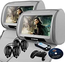 "XTRONS Grey 2X Twin Car headrest DVD Player 9"" HD Touch Screen with FM Game Disc Mp3 IR Headphones"