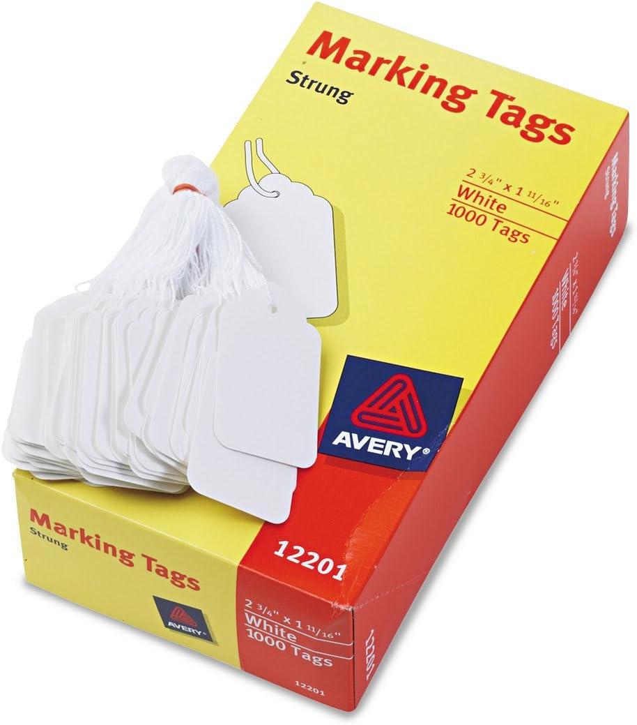 1,000//Box 12201 12201-1 2 3//4 x 1 11//16 Medium-Weight White Marking Tags