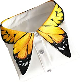 Shinywear Unique Yellow Butterfly Shape Decorative Collar Shirt Blouse for Women, One Size