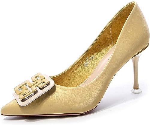 GY Bouche Bouche Bouche Pointue Talons Hauts Talons féminins Chaussures Sauvages Uniques Sauvages,jaune-35EU 736