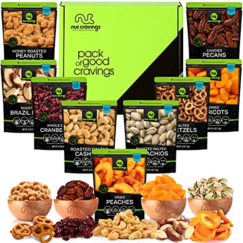 Dried Fruit & Nut Gift Basket in Green Box (9 Piece Assortment) - Rosh Hashanah Arrangement Platter, Birthday Care Package Variety, Healthy Food Kosher Snack Tray for Families, Women, Men, Adults