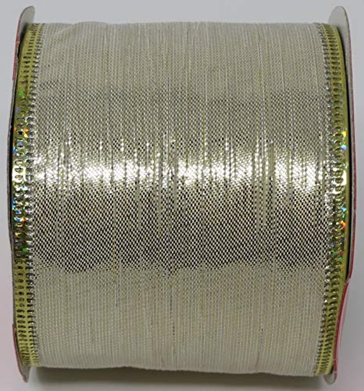 Christmas Ribbon Wire-Edged Red Tartan Plaid Design 2.5 inch x 9 Feet (Metallic Cream)