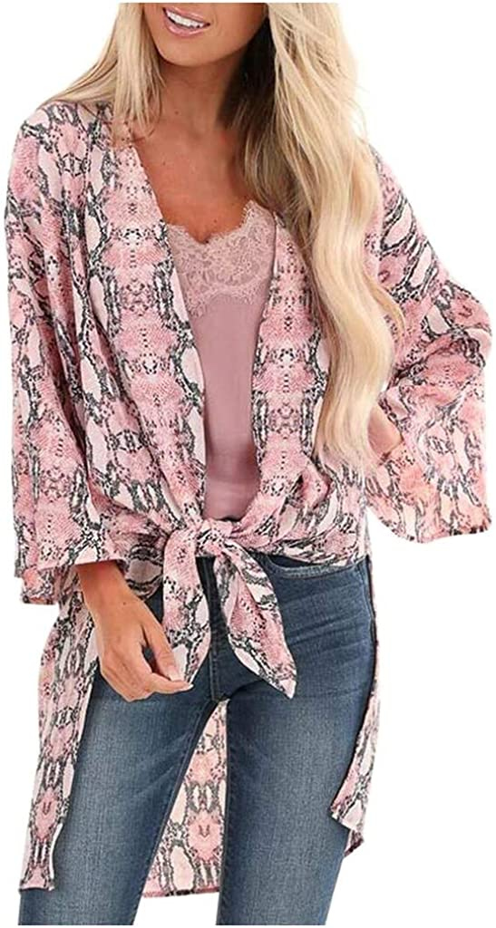 aihihe Women Printed Kimono Beach Cover Up Loose Cardigan Top Blouse Long Sleeve Open Front Lightweight Summer Cardigan Pink