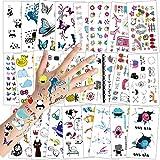 Konsait Tatuajes Temporales para Niños Niñas, Flor Mariposa Fruto Dibujos Animales Tatuajes Infantiles Tatoos Falso Pegatinas para piñata Niños Infantiles Fiesta de Cumpleaños Regalo, 24 Hojas