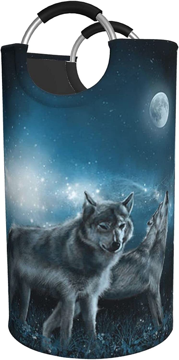 Max 89% OFF Wolf In The Moonlight Recommended Print Waterproof Hamper Laundry B
