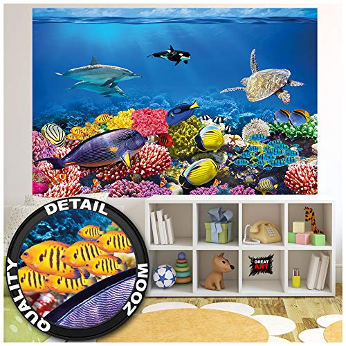 GREAT ART Fototapete – Aquarium – Wandbild Dekoration Farbenfrohe Unterwasserwelt Meeresbewohner Ozean Fische Delphin Korallen-Riff Clownfisch - Foto-Tapete Wandtapete (210x140 cm)