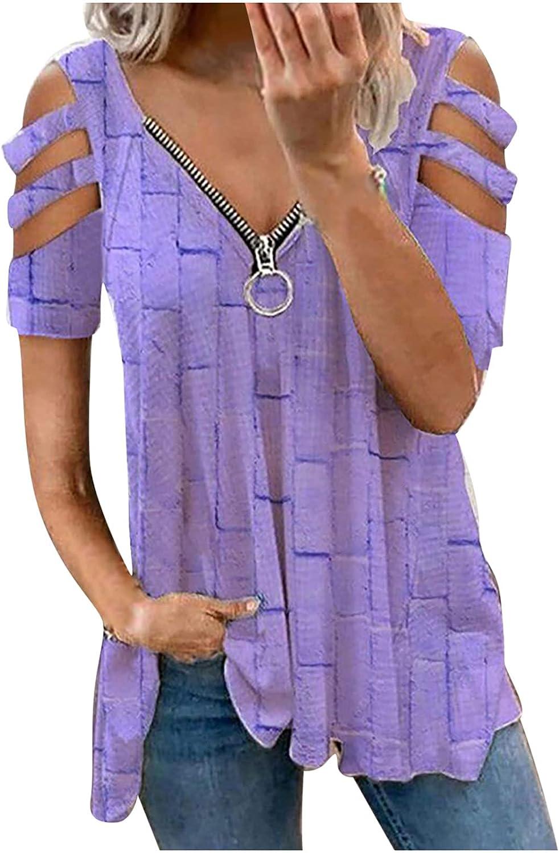 Summer Blouse for Women's T-Shirt Retro Printed Zipper V-Neck Loose Short Sleeve T-Shirt Pullover Tops