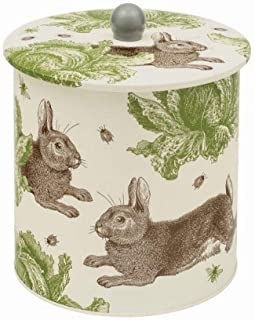 Thornbeck & Peel Biscuit Barrel Tin in Rabbit & Cabbage Design | Cookie Jar Tin Made in UK