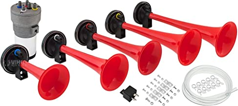 Vixen Horns Loud 5/Five Trumpet Dixie Musical/Music Sound Air Horn with Compressor Full Complete System/Kit Red 12V VXH6801R
