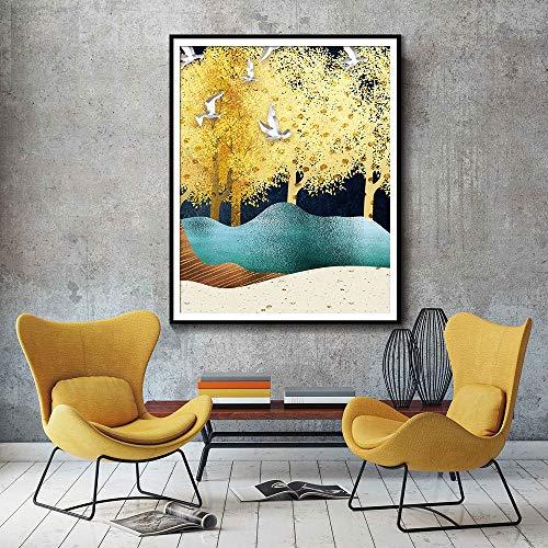 Rahmenlose Malerei Aquarell Natur Ölgemälde Vogel Baum Wand Künstler Home Dekoration Poster Moderne Natur LeinwandZGQ3792 60X80cm