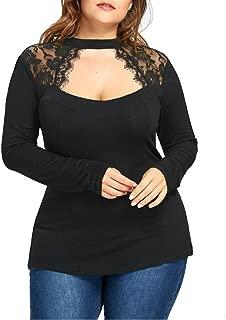 Womens Elegant Floral Lace Splicing Blouse Tops Choker Low Cut Tunic Shirts Plus Size