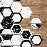 Ruosaren - Adhesivo decorativo para pared, diseño de baldosas de cerámica antideslizante para suelo de cocina, PVC hexagonal (paquete de 10,7,8 x 9,8 cm)