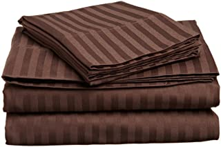 Nile Bedding Collection Luxury Hotel Bed Sheets Set Egyptian Cotton 600 Thread Count Sateen 4 PCs Sheets -Fitted Sheet Fit up to 10 Inches Deep Pocket Chocolate Striped Twin Extra Long Size