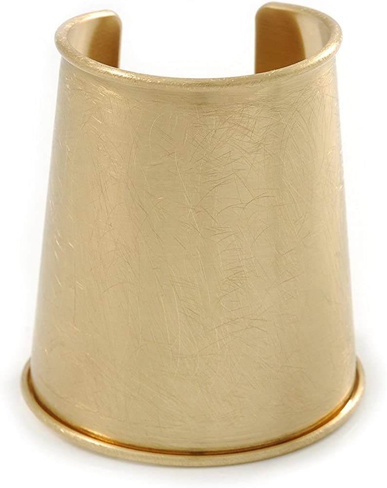 Avalaya Egyptian Style Scratched Effect Wide Cuff Bangle Bracelet in Light Gold Tone Metal - Adjustable