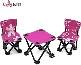 Emily Rose 18 Inch Doll Accessories | Awesome Pink and White Flowered Armless Camping Sports Chairs and Table Set, Includes Matching Carry / Storage Case | Fits American Girl Dolls