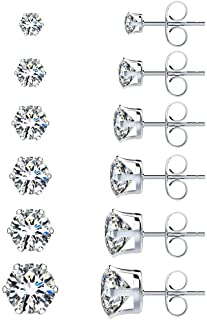 UHIBROS 6 Pairs Stainless Steel Stud Earrings Set Hypoallergenic Cubic Zirconia 18K White Gold 316L CZ Earrings 3-8mm