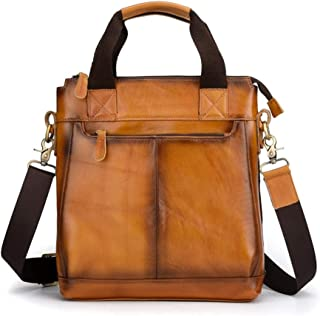 DC Wesley Leather Buff - Bolso de piel para hombre, estilo retro, 32 x 28 x 8 cm (color: amarillo)