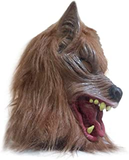 Halloween Wolf Mask, Brown Full Face Werewolf ANI-Motion Mask, Wolf Head Mask Cover Werewolf Mask for Halloween and Cosplay Costume Party Horror Nights