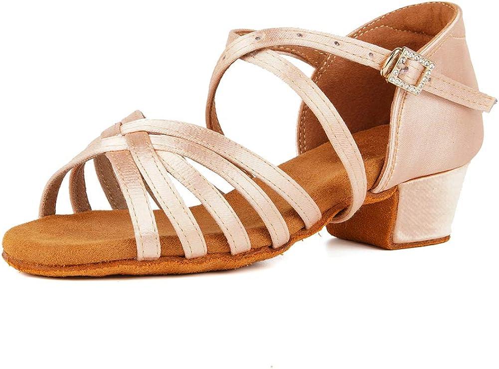 Dealing full price reduction JUODVMP Pink Girls Latin Dance Salsa Department store Ballroom Satin Shoes Tango