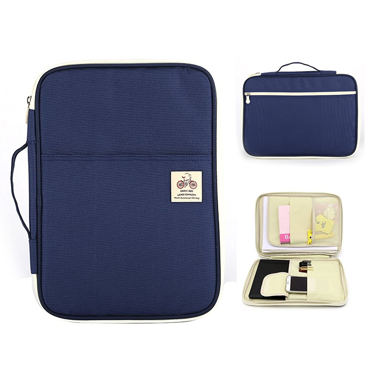 Aimeio Multifunction Handy A4 Portfolio Bag- Waterproof Document Organizer Tote Letter Size File Holder-13''Laptop Tablet Travel Pouch,Dark Blue