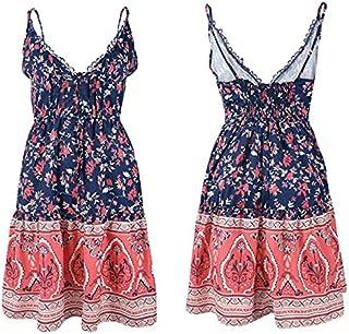 UBANT Women Summer sexy V-neck sling waistband printed stitching halter dress (L, l)