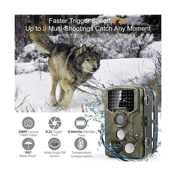 Coolife Wildlife Camera, 16MP 1080P HD Trail Camera with 125° Wide Angle Night Vision up to 82ft/25m Hunting Game Camera with 3 Zone Infrared Sensor IP67 Waterproof Trail Surveillance with 32G SD Card