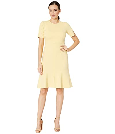 Donna Morgan Crepe Short Split Sleeve Fit and Flare Dress (Daffodil) Women