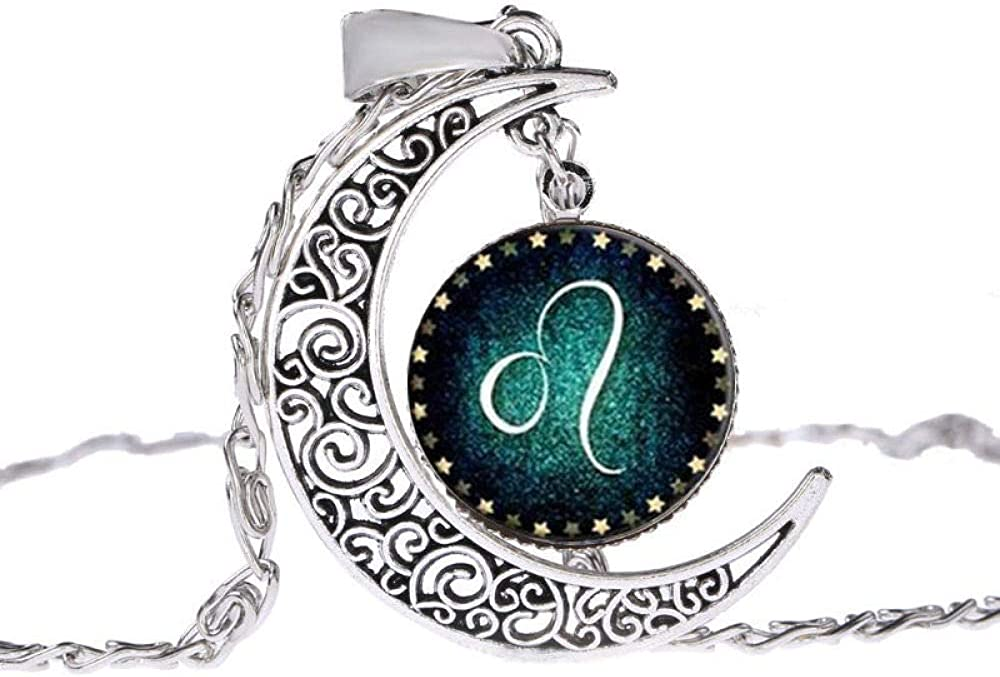 Fashion 12 Zodiac Signs Constellation Leo Hollow Filigree Moon Pendant Chains Statement Necklace Choker Collar