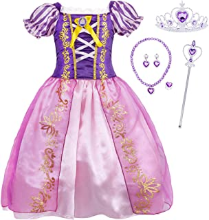 HenzWorld Little Girls Outfits Dresses Princess Costume Clothes Role Pretend Cosplay Halloween Birthday Party Ruffle Stripes Puff Sleeve Split Skirt Purple Jewelry Accessories Kids Age 7-8 Years