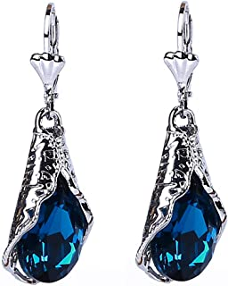 Gemstone creux Boucles d/'oreilles pendantes Dangle Vintage strass goutte