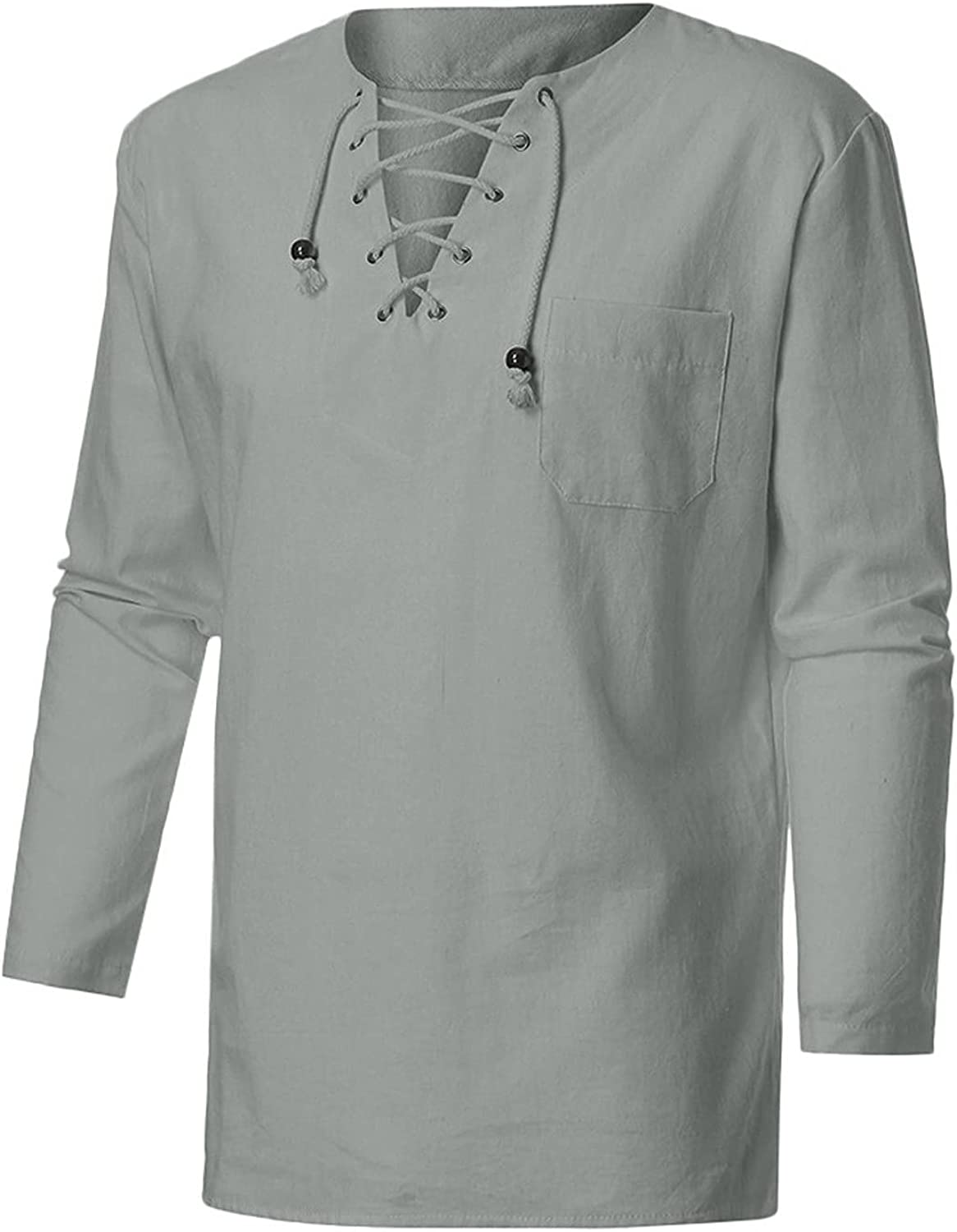 LEIYAN Mens Casual Cotton Linen Shirts Spring Summer Long Sleeve Big and Tall Hippie V-Neck Loose Fit Beach Yoga Tops