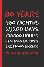 80 YEARS OF BEING AWESOME: SMALL BLANK LINED NOTEBOOK 120 Pgs. CREATIVE BIRTHDAY GIFT. Journal, Diary, Planner. 80 YEARS OLD.