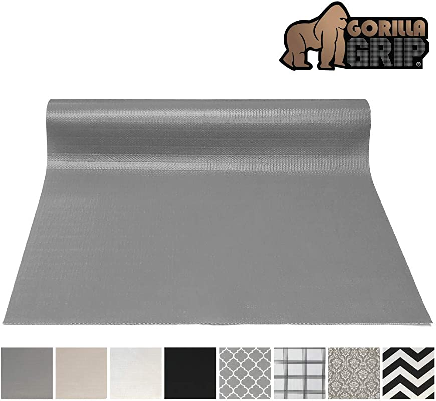 Gorilla Grip Original Smooth Top Slip Resistant Drawer And Shelf Liner Non Adhesive Roll 17 5 Inch X 20 FT Durable Kitchen Cabinet Shelves Liners For Kitchens Drawers And Desks Gray