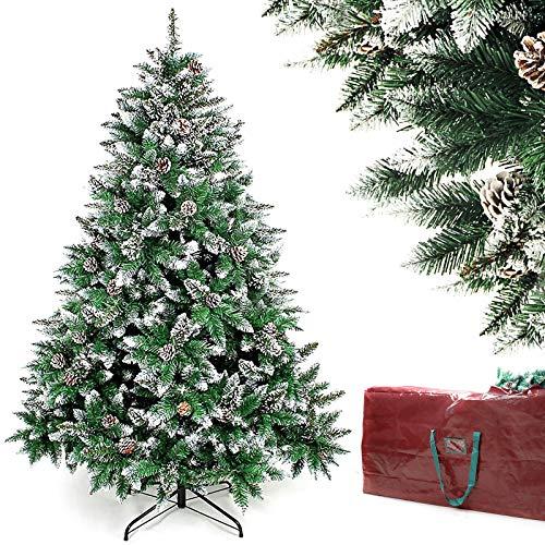 fake christmas trees Homde Christmas Tree Artificial Full Xmas Tree 5/6/7 Feet with Bag Flocked Snow Pine Cone (6ft)
