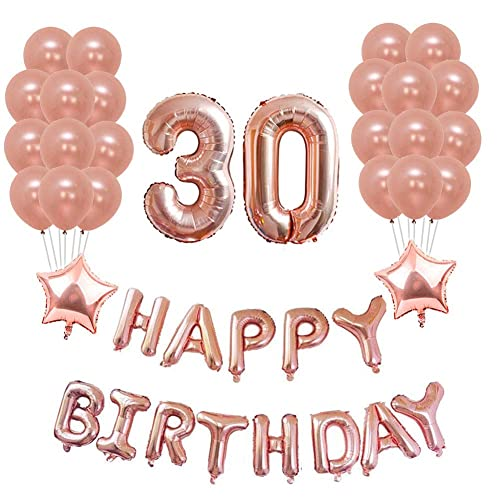 Yoart 30th Birthday Decorations Rose Gold Party Sets Happy Banner 2 Star