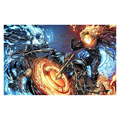 RHWXAX Classic Ghost Rider Pinturas de Lona, Soul Chariot Art Art Wall Pints and Posters, Family Living Room Decoration Pintings 16x24in Sin Marco
