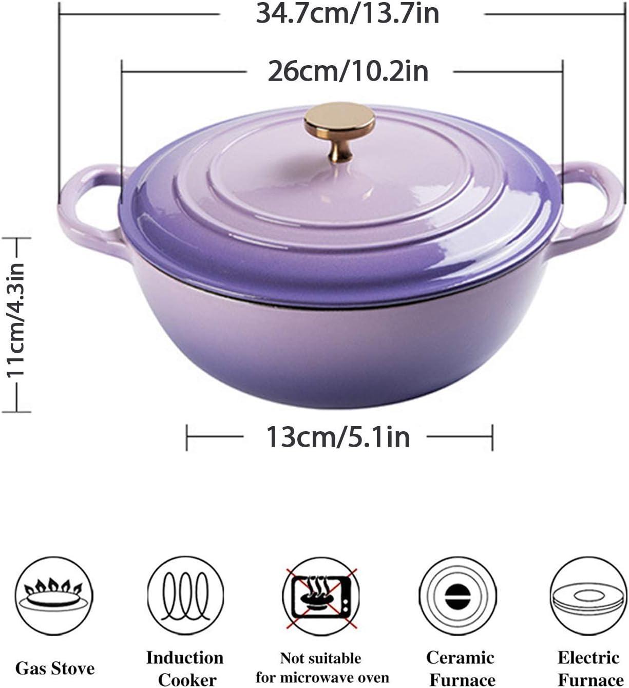 YZ-YUAN Home Dutch Oven avec Double poignée, Casserole antiadhésive en émail, cocotte avec Couvercle pour préparer des Repas à Cuisson Lente et Lente, Rouge Blue