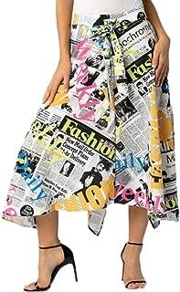 LETSVDO Women's Cartoon Stretchy Flared Casual Midi Letter Print Midi Skirt Plus Size