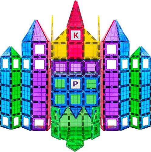 Magees Magnetic Building Blocks 100 Set - Magnet Toys Building Strongest Magnets - Magnetic Tiles Includes Bonus 13 Piece Insert Alphabet Cards - STEM 3D Magnet Tiles - Original 6015