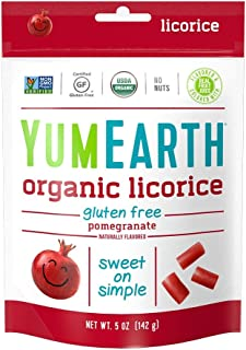 YumEarth Organic Gluten Free Pomegranate Licorice, 5 Ounce Bag (Pack of 12) (Pack May Vary)