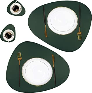 Faux Leather Placemats and Coasters Set (2 Table Mats and 2 Coffee Mats), Waterproof Easy to Clean Heat Resistant Non Slip Anti-Skid Washable Irregular Table Mats for Kitchen Dining Table (Green)
