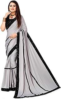 فستان ساري هندي أنيق من قماش الساري المزين بالترتر بحواف وبلوزة بنمط احتفالي ساري مناسب لحفلات الكوكتيل 4667