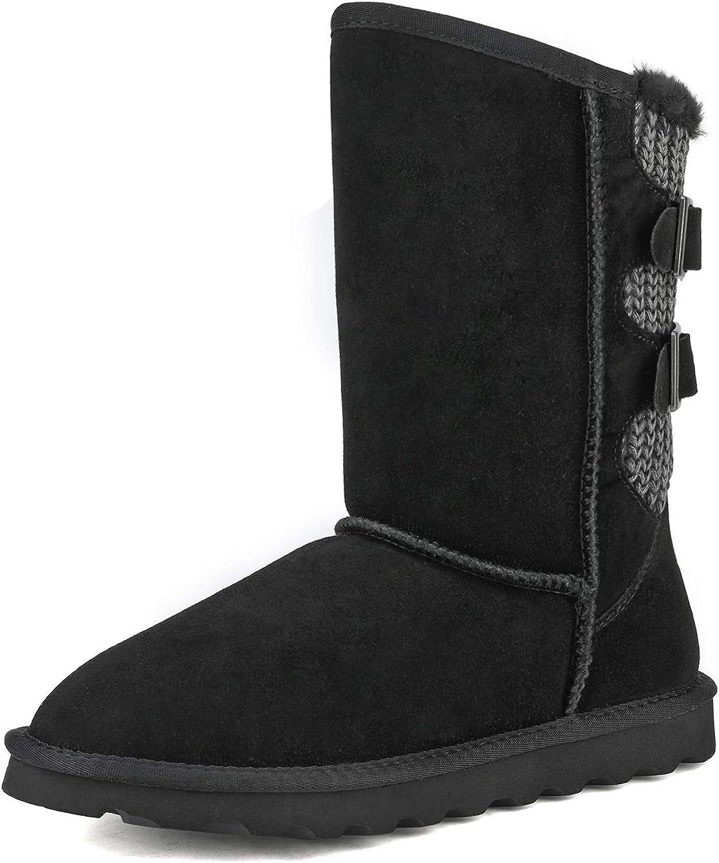 DREAM PAIRS Women's Mid 流行 Calf Snow 限定モデル Boots Winter Fashion
